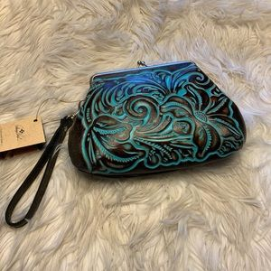 Patricia Nash told turquoise/brown clutch …